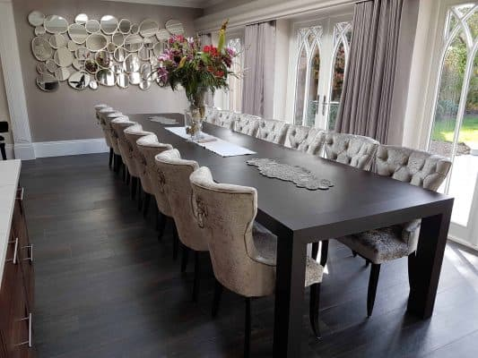 Long and Stylish Bespoke Dining Table Chairs
