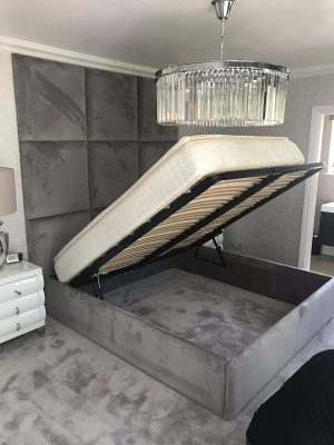 Kilburn Bed and Panel Headboard (open)
